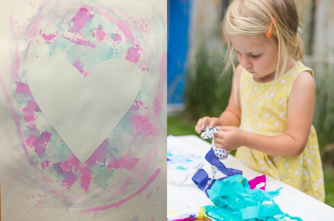 holčička tvoří růžové srdce tvořivá výzva zdarma radky rubešové